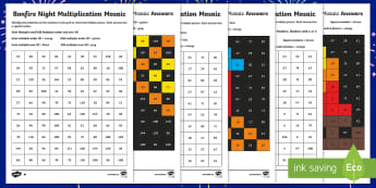 UKS2 Bonfire Night Maths Mosaic Differentiated Activity Sheets - the gunpowder plot, year 5 times tables, year 6 times tables, times tables activity sheets, Calculat