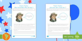 Independence Day Stephen Hopkins What Did He Mean When He Said Activity Sheet US English/Spanish (Latin) - Independence Day, 4th July, July 4th, American Independence, Stephen Hopkins, Research, worksheet, s