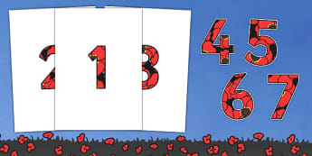 Remembrance Day Themed A4 Display Numbers-remembrance day, themed, A4, display, numbers, display numbers, A4 numbers, history, ww1