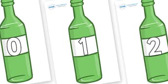 Numbers 0-100 on Green Bottles - 0-100, foundation stage numeracy, Number recognition, Number flashcards, counting, number frieze, Display numbers, number posters