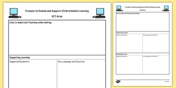 ICT Area Adult Support Prompt Sheet Template - EYFS Continuous Provision Plans, enhancements
