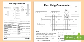 First Holy Communion Crossword - Confession & First Communion Resources,Irish