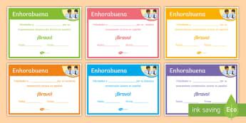 End of Year Reading Comprehension Award Certificates Spanish - Diploma, award, prize, end, term, reward, spanish, ks3