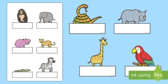 ES - Auto registro editable: La jungla - La jungla, trans-curricular, animales, salvajes, mono, elefante, hipopótamo, guepardo, cocodrilo, c