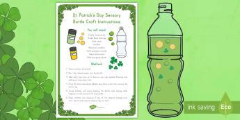 St. Patrick's Day Sensory Bottle Craft Instructions - St. Patrick's Day, St. Patrick's Day craft, St. Patrick's Day sensory craft, St. Patrick's Day p