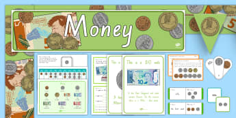 New Zealand Money Resource Pack - New Zealand, Money,coins, notes,NZ