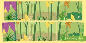 Small World Background to Support Teaching on Elmer - Elmer, Elmer the elephant, resources, Elmer story, patchwork elephant, PSHE, PSE, David McKee, colours, patterns, story, story book, story book resources, story sequencing, story resources, Small