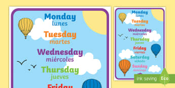 Days of the Week Display Poster English/Spanish  - Days of the week, days, display, poster, EAL, Spanish,,Spanish-translation
