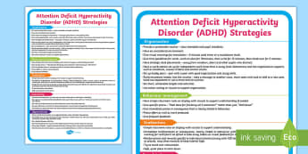 ADHD Support Strategies A4 Display Poster - SEN, attention deficit hyperactivity disorder, advice, techniques, behaviour, managing