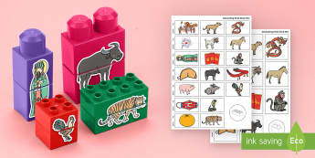 Chinese New Year Matching Connecting Bricks Game - EYFS Connecting Bricks Resources, duplo, lego, chinese new year, year of the rooster, chinese new ye