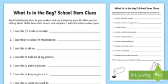What Is in the Bag? School Items Clues Activity Sheet - New Language Curriculum, Speaking skills, Listening skills, Pair work, Oral language, worksheet