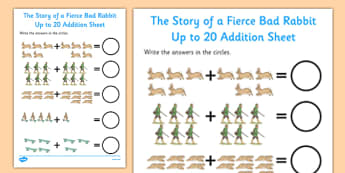 Beatrix Potter - The Story of a Fierce Bad Rabbit Up to 20 Addition Sheet - beatrix potter, fierce, bad, rabbit