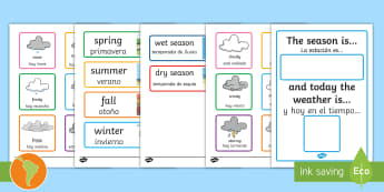 Weather And Season Calendar US English/Spanish (Latin) - Weather And Season Calendar - season, weather, calendar, spring, summer, autumn, winter, rainy, sunn