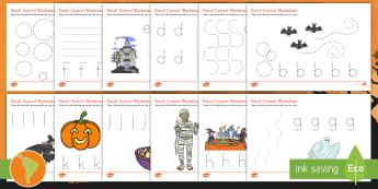 Halloween Pencil Control Activity Sheets - Pencil control, halloween, control, motor skills, trace