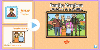 Family Members PowerPoint US English/Spanish (Latin) - visual, display, families, Family\'s, ppt, spanish, eal