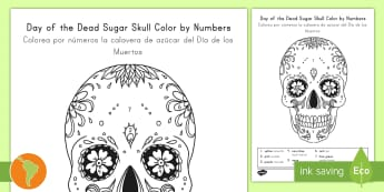 Day of the Dead Sugar Skull Color by Number US English/Spanish (Latin) - day of the dead, sugar skulls, color by number, day of the dead coloring sheet, coloring sheets, dia