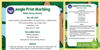 Jungle Print Marbling Edible Sensory Recipe - Rumble in the Jungle, Giles Andreae, Rainforest, stripes, pattern, print, marbling, sensory play, me