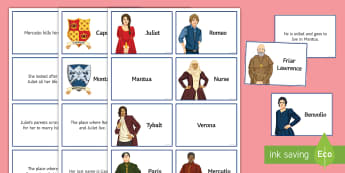 Romeo and Juliet Lower Ability Character and Place Cards  - Secondary - SEN - lower ability resources