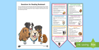 Year 3 Parent Questions for Reading Bookmarks - Y3, comprehension, understanding, reading dogs, parents, questioning