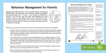 Behaviour Chart Pack Overview Parent and Carer Information Sheet - help, advice, support, behaviour management, reward