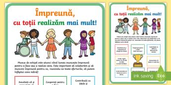 Suntem o ECHIPĂ - Planșă motivațională - munca în echipă, dezvoltare socială, decorul clasei, decor clasă, început de an, ,Romanian