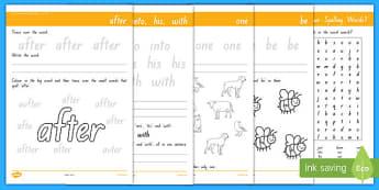 New Zealand Essential Spelling List Three Activity Sheet Pack, worksheet