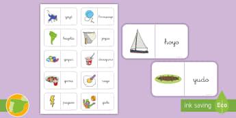 Dominos: La Y - Juego, lecto, leer, lectura, fonemas, sonidos, didáctico, consonantes, Spanish
