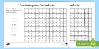 Buchstabengitter: Die 6er Reihe Arbeitsblatt - Buchstabengitter, Die 6er-Reihe, Arbeitsblatt, Multiplizieren, Multiplikation, Malnehmen, Rechnen, M