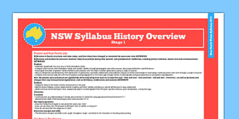 Australia NSW Syllabus History Stage 1 Overview - australia
