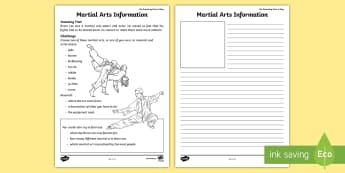 Martial Arts Information Activity Sheet - amazing Fact august, sport, KS1, karate, judo, worksheet