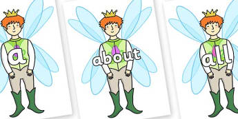 100 High Frequency Words on Fairy Prince - High frequency words, hfw, DfES Letters and Sounds, Letters and Sounds, display words