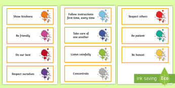 KS2 Art Themed Class Charter Cards - rules, behaviour, display, back to school, classroom organisation, Democracy, Council, Manage