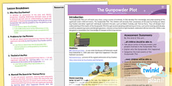 PlanIt - History KS1 - The Gunpowder Plot Planning Overview