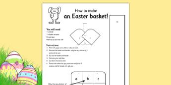 Easter Basket Net - easter, template easter basket, design, art, RE