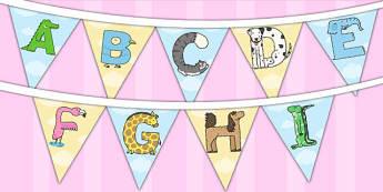 Animal Alphabet Display Bunting - animal, alphabet, display, bunting