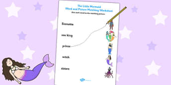 The Little Mermaid Word and Picture Match - matching, stories
