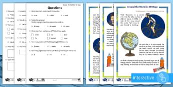 KS1 Around the World in 80 Days Differentiated Comprehension Go Respond  Activity Sheets - The World Challenge, 80, days, weeks, months, world, cycle, cycling, bike, bicycle, personal goal, s