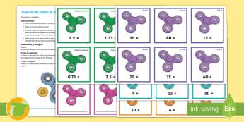 Juego: Multiplicación - Los 'Spinners' - tablas de multiplicación, multiplicar, juego, tarjetas, decimales, crear, spinner, mates, matemáti