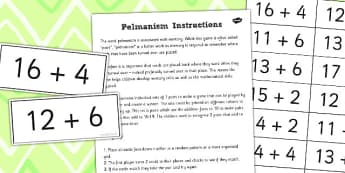 Pelmanism Addition Facts Game 11 to 20 using 1 to 10 - addition