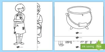 The Magic Porridge Pot Colouring Sheets - magic, porridge, pot, little girl, lady, magic pot,colouring, fine motor skills, poster, worksheet, vines, A4, display,  cook, magic words