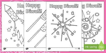 Diwali Fireworks Colouring Page - ESL Diwali Vocabulary