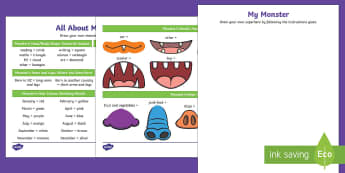 All About Me Monster Glyph Activity Sheet - New Zealand, Back to School, glyph, monsters, all about me, new class, new term, new year, new schoo