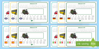 Welcome to P2 (with different languages) Desk Mats - Back To School, days, week, Gaelic, Spanish, German, Italian, Name Labels, Start Of The Year, Desk P