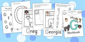My Workbook G uppercase - workbook, G sound, uppercase, letters, alphabet, activity, handwriting, writing
