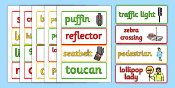 Walk to School Month Word Cards- Road, Safety, Word, Cards, Safe, Words