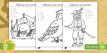 Ficha de actividad: Colorear con sumas - Piratas - colorear, colorea, colores, pintar, números, sumar, sumas, restar, restas, adición, sustracción,