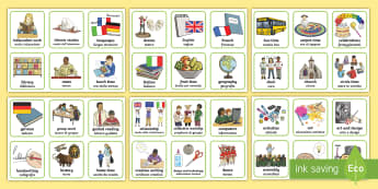 Visual Timetable English/Italian  - KS2, key stage two, key stage 2, visual timetable, visual aid, visual cards, word cards, flash cards