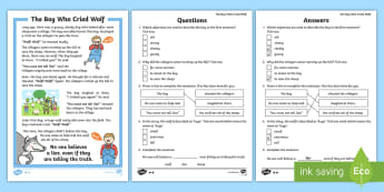 KS1 The Boy Who Cried Wolf Differentiated Reading Comprehension Activity - Develop pleasure in reading, motivation to read, vocabulary and understanding, Understand what they