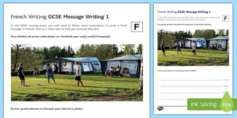 GCSE French Message Writing 1 Foundation Tier Activity Sheet-French, worksheet
