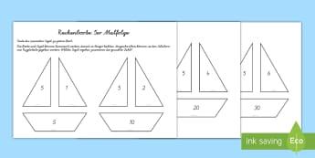 Rechenboote 5er Malfolge Lern- und Unterrichtmaterialen - Sommer, Boote, Mathematik, Rechnen, Multiplikation, Kl.1/2, summer, boats, maths, calculating, multi